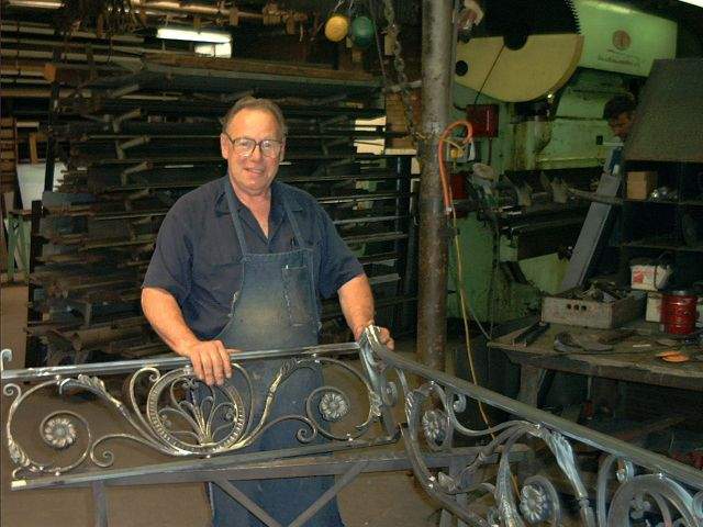 Hand forged staircase railing.