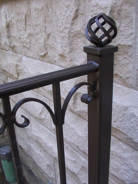 """Verona"" style. 2 in. newel posts with ball basket finial. Color: Bronzetone"
