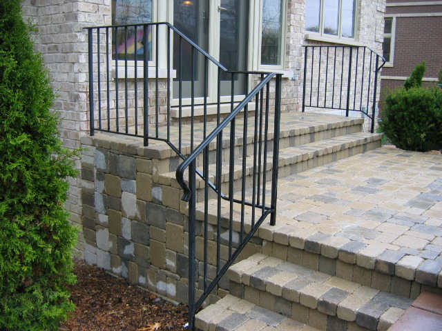 Standard Railing, 1/2 inch square balusters, standard lambs tongue front volute.