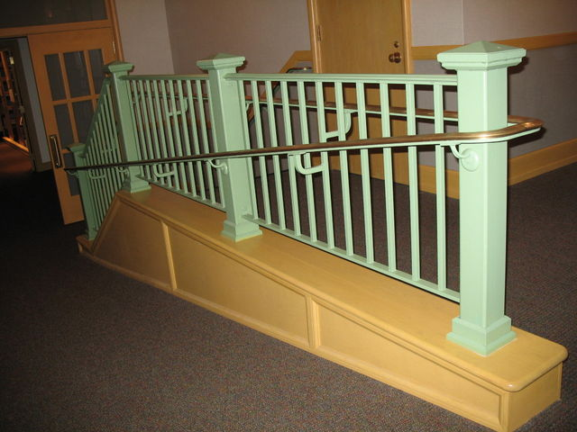 Park Ridge Public Library, Handicapped Access Railings with bronze handrails.